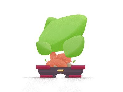 Tree illustration flat green bonsai tree