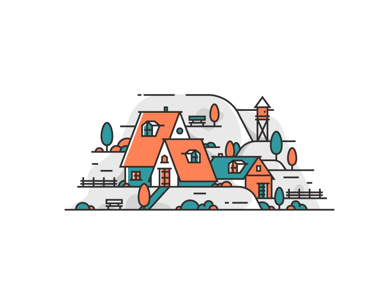 Little Architecture #29 mountain tree forest village house icon littlearchitecture illustration architecture