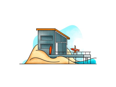 Little Architecture #44 wave surfer sea house icon littlearchitecture illustration architecture