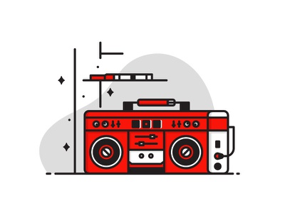 Boombox red boombox icon design illustration lineart