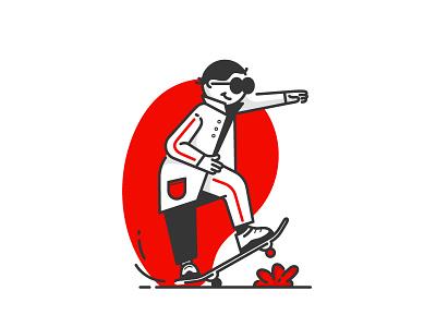 Skateboarder man skateboarder design lineart illustration