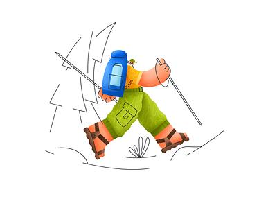 Hiking hiking texture design lineart illustration