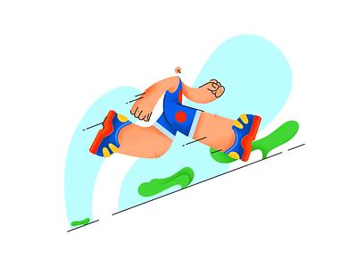 Running design texture illustration lineart