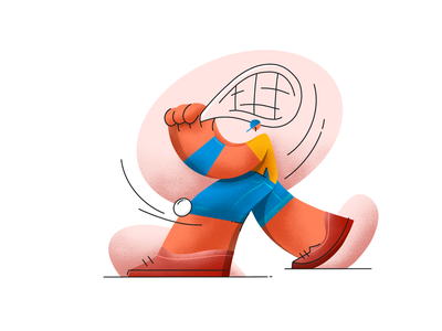 Tennis star texture design lineart illustration