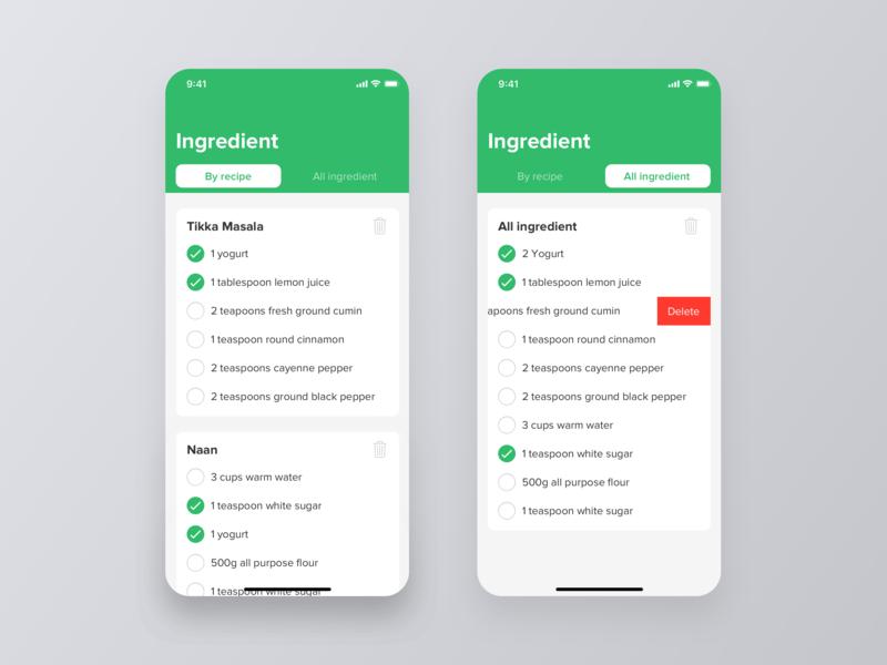 Food App - Recipes dailyui interface ios cook recipe 2019 beverage drink sort notes list shopping restaurant eat ux ui ingredient mobile app food