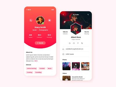 Profile Screens profile screen app branding ux design design adobe xd web design app design ui design