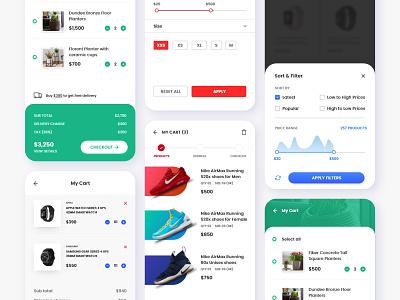 Shopping Cart Screens shopping cart add to cart app branding ux design design adobe xd web design app design ui design