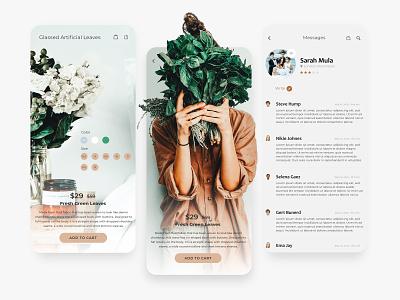 Plantation Store shopping app shopping leaves plant illustration plant app branding ux design design adobe xd app design ui design