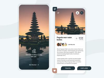Explore Destinations - Travel App Screens explorer travel app illustration colors apple design ios app design app branding ux design design web design adobe xd app design ui design