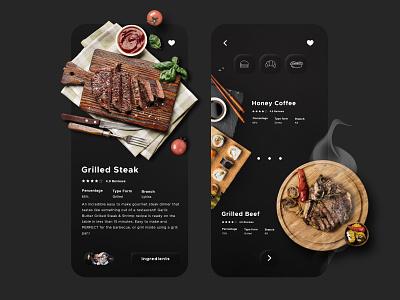 Dark Themed Elegant App Screens elegant design dark theme ui dark theme creative design restaurant app illustration ux design design web design adobe xd app design ui design