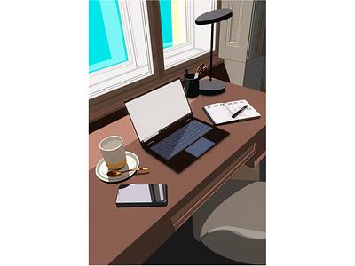 Desk illustration table desktop flat art illustration design
