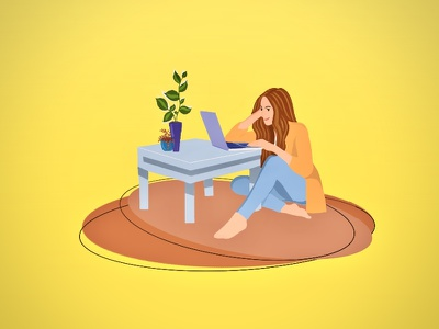 Work from home workfromhome workspace ui desktop vector human figure design minimal illustration flat art
