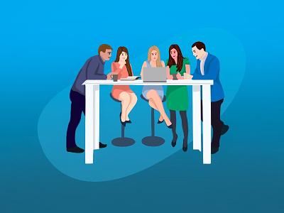 Meeting room application ui vector minimal illustration human figure desktop art flat design