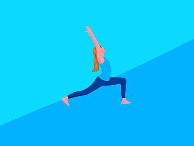 Yoga webpage woman illustration blue color gym workout exercise vector flat minimal app illustration human figure art design yoga