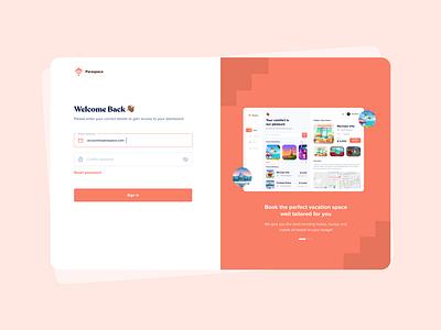 Paraspace login booking hotel webapp design login dashboard