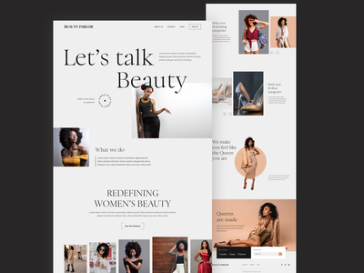 Beauty Parlor website landing page minimal commerce model shopping fashion beauty
