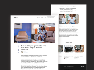 Bareh Blog news interior decorator website single page blog decorator