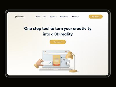 Creatfree builder hero section 3d website creativity