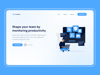 Creatfree gradients landing page hero section tracking website product