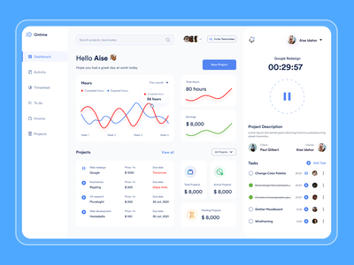 Ontime product managemant dashboard time tracking webapp freelance