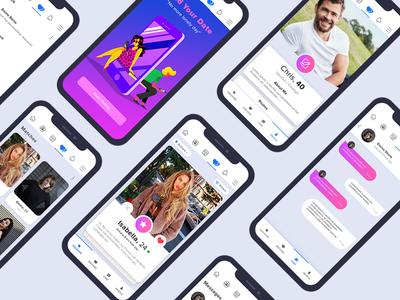 Facebook Dating App illüstration landing page mobile application mobile ui uıdesign ux ui