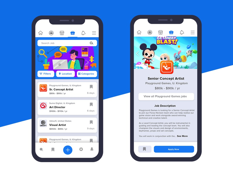 Facebook Jobs App ui ux illüstration ui trends ui mobile ui trend mobile design mobile app mobile minimal interface inspiration flat design appdesign 2020