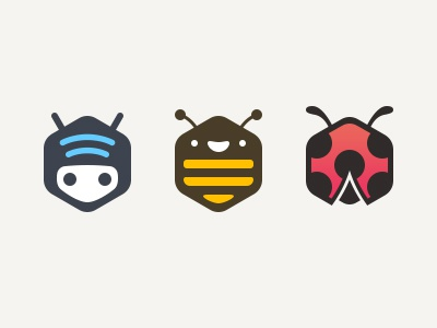 Funny WiFi Characters wi-fi robot wifi bug bumblebee bee ladybugs hexagon hex