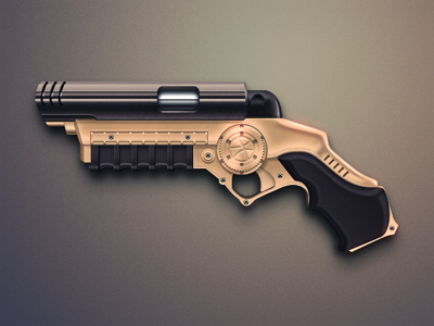 Dribbble Grapple Gun gun pistol dribbble grapple grappling hook batman weapon game screw screws metal copper dark celegorm china icon