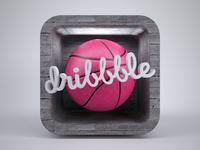 Dribbble 3D icon