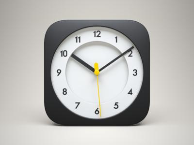 3D iOS Clock Icon watch time apple 3d braun clock icon yellow black model ios iphone ipad china celegorm dark