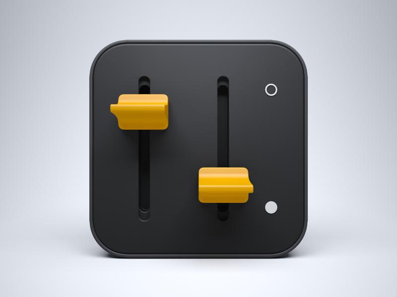 3D Switch Icon 3d ios apple iphone ipad control model settings black yellow icon switch braun china panel celegorm dark