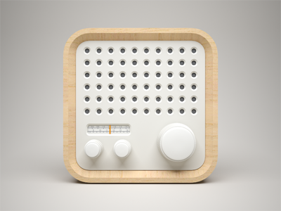 3D Radio Icon  fm 3d braun radio icon wood white model ios iphone ipad knob volume clean control china light apple celegorm pure panel