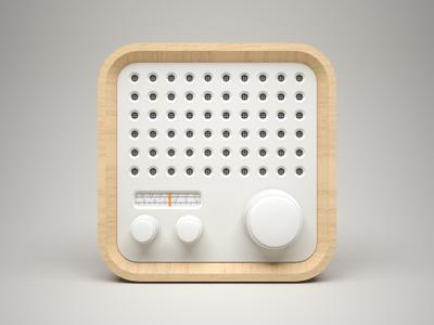 3D Radio Icon  fm 3d braun radio icon wood white model ios iphone ipad knob volume clean control china light apple celegorm pure panel