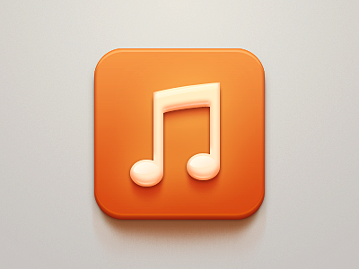 Music Icon ios apple iphone ipad note music player orange milky sound icon light china clean celegorm