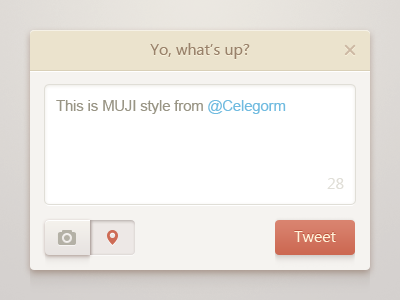 Clean Popup UI ui button psd twitter camera location pin close word icon clean light china celegorm chat tweet freebie