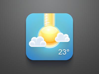 Weather Icon ios apple iphone ipad temperature cloud weather orange thermo sun icon blue dark china clean celegorm