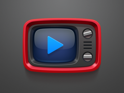 Red Retro TV icon icon clean crisp china dark celegorm android kuaibo player tv television red black blue video movie play show