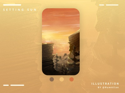 SETTING SUN landscape logo nature iphone case illustrator illustration