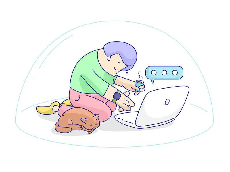 Remote working illustration remote work remotework laptop funny cute woman cat adobe illustrator vector illustration design character character design cartoon art digital illustration vector