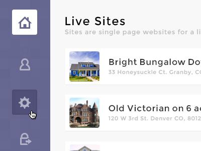 Realty Web App nav navigation realty flat icons left aligned purple web house