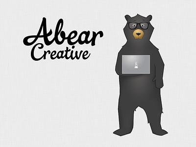 Abear Creative animal illustration bear logo computer macbook glasses cursive fiber weave abear creative