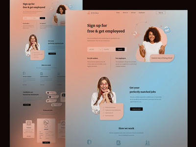 Landing page exploration on Job Web application ''Zibika'' webdesign uxui hire landing landing page design landingpage webapplication job ux  ui hireme like button ux design ui  ux uidesign ui design like uxdesign ux uiux ui
