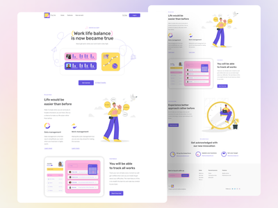 Landing page exploration on work life balance tracker ''Facile'' userinterface mailbox profile uxui uxdesign ux webapplication webapp design creativity creative website landing page landingpage work in progress ui  ux uiux uidesign ui design work ui