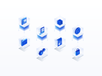 Process & Implementation Icons ⚙️ saas delivery lock icon set isometric design implementation process blueprint illustration icon software 3d glass blue icons file settings folder isometric illustration isometric