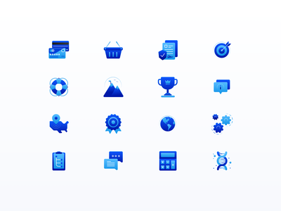 SaaS Icon Set | GhostDraft 💎 clipboard prize calculator badge gears globe cup brand icon cart payment document info target blue chat help milestone icon set icons