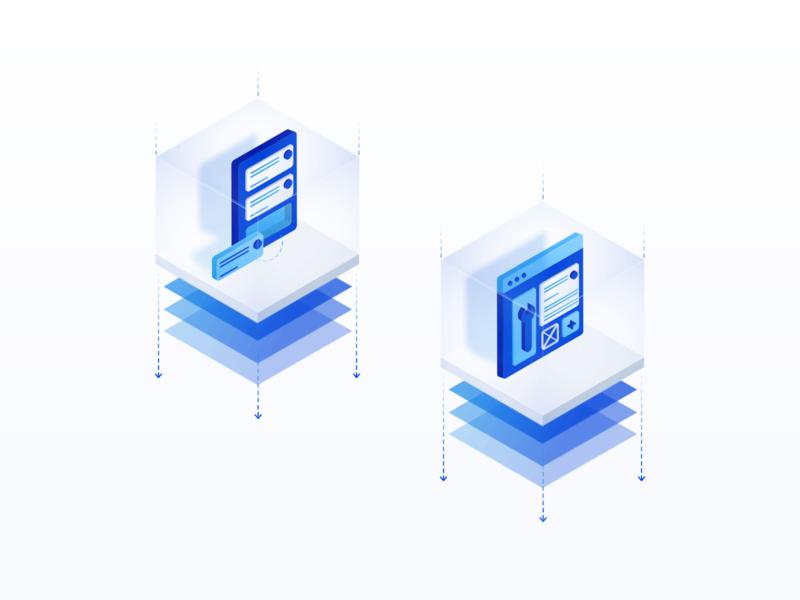Design & Build | Illustrations 🛠️ production octagon cube saas app tools isometric illustration isometric design isometric motion builder build design app design saas icon set icons 3d blue software icon