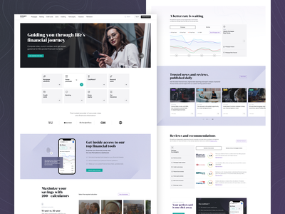 Money Karma   Landing Page Concept for Financial Company ux ui digital payments finance banking finance website interface affiliate web design product design money landing page fintech credit cards wallet business online banking clean saas