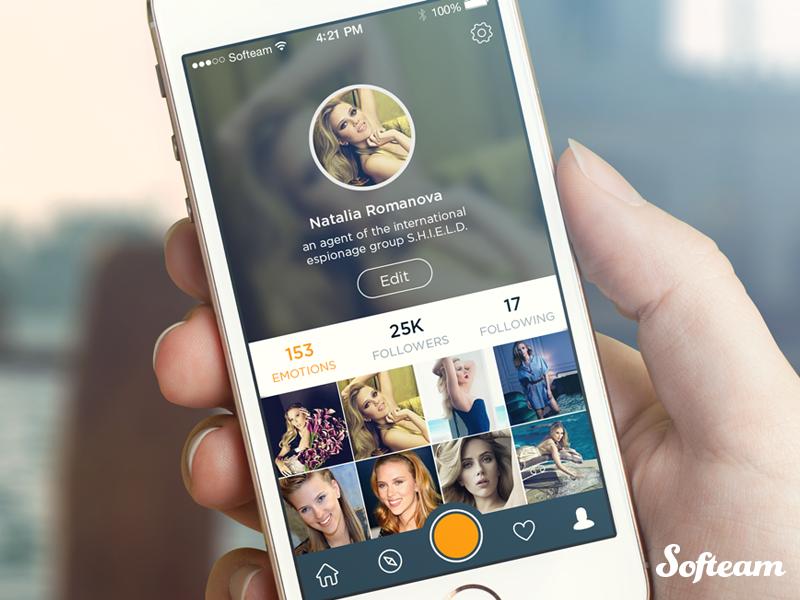 Social app profile ui ux social photos profile softeam flat ios7 interface app transparent