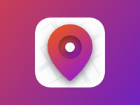 Dream Island App icon ui design city map pin iphone location app ios icon