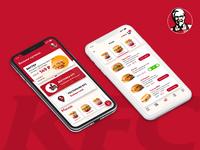 KFC App Redesign interface restaurant clean burger iphone x food order menu ui app